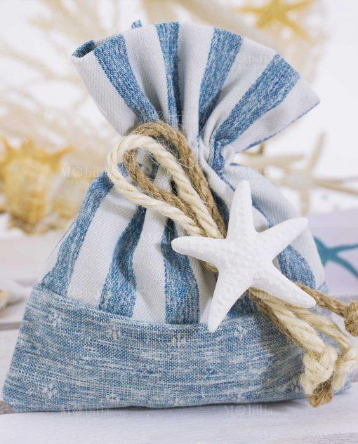 sacchetto portaconfetti bianco e azzurro con stella marina collezione stella
