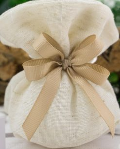 sacchetto portaconfetti coton juta beige con confetti e doppio fiocco grosgrai tortora