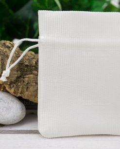 sacchetto portaconfetti cotone bianco rigato con tirante