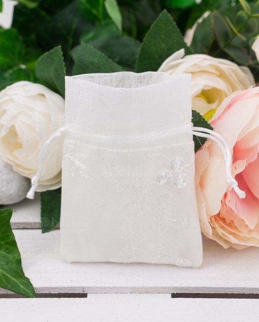sacchetto portaconfetti cotone rasato bianco con ricami