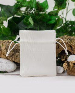 sacchetto portaconfetti piccolo cotone bianco rigato con interno raso