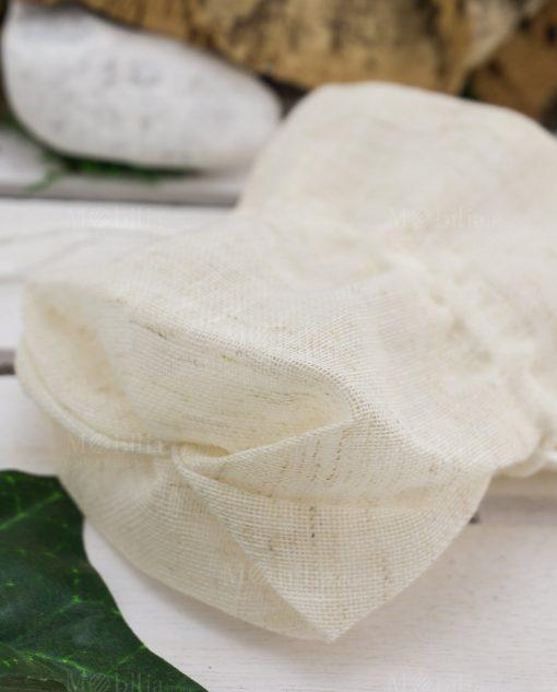 sacchetto portaconfetti pouf coton juta beige con tirante