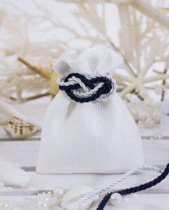 sacchetto portaconfetti rigato bianco con nodo marinaro piano