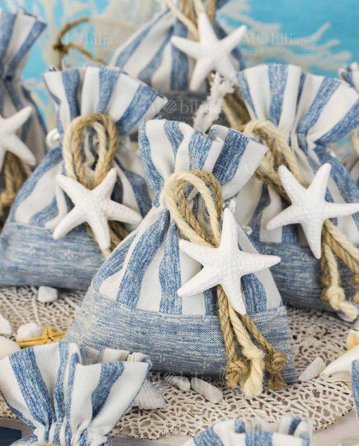 sacchetto portaconfetti tema mare a righe con stella marina gessetto