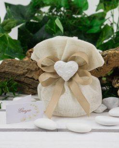 sacchetto pouf coton juta beige con doppio fiocco tortora e gesso cuore con fiori