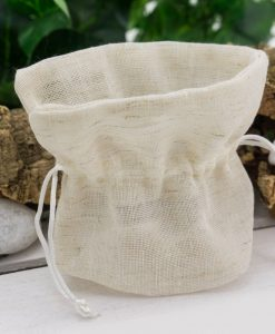 sacchetto pouf coton juta beige con tirante bianco