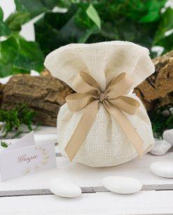 sacchetto pouf coton juta confezionato con confetti e doppi fiocchi grosgrain tortora