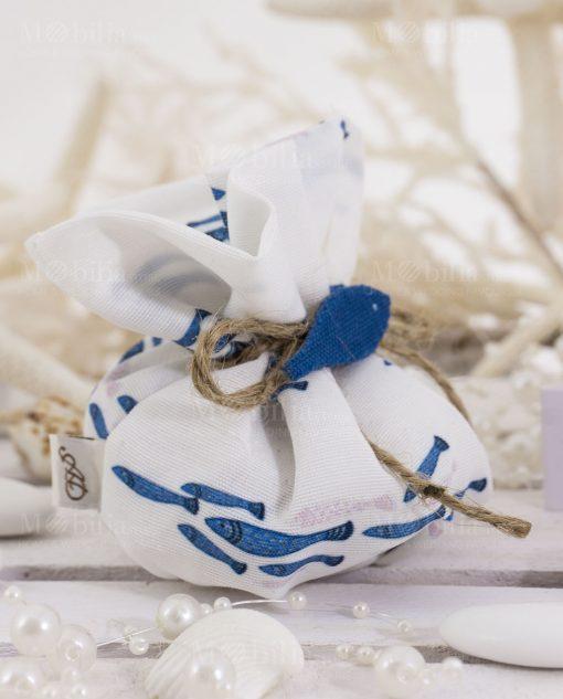 sacchetto puff con pesciolini blu con cordoncino spago cucito a mano linea alice ad emozioni