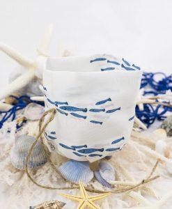 sacchetto puff con pesciolini blu con cordoncino spago linea alice ad emozioni