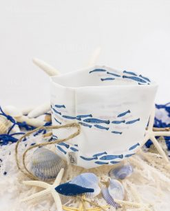 sacchetto puff con pesciolini blu linea alice ad emozioni