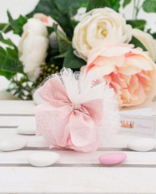 sacchetto rosa con fiocco brillantinato linea princess ad emozioni