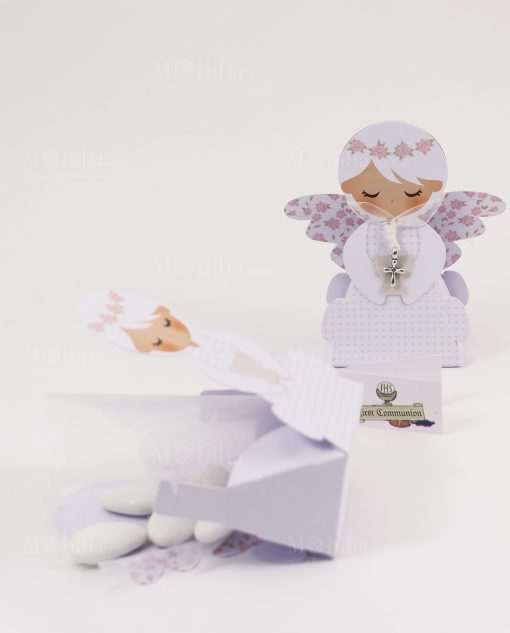 scatola portaconfetti angelo femmina ciondolo croce