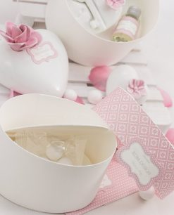 scatola rotonda per bomboniera con confetti blisterati linea blush rdm design