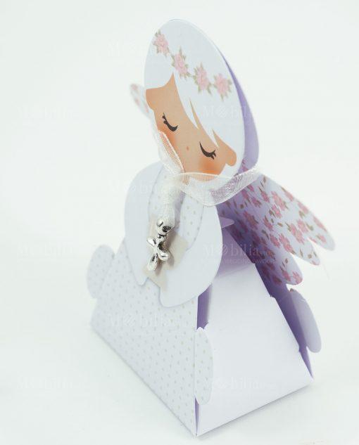 scatolina portaconfetti angelo femmina ciondolo crocetta
