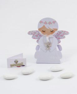 scatolina portaconfetti angioletto femmina con cciondolo crocetta