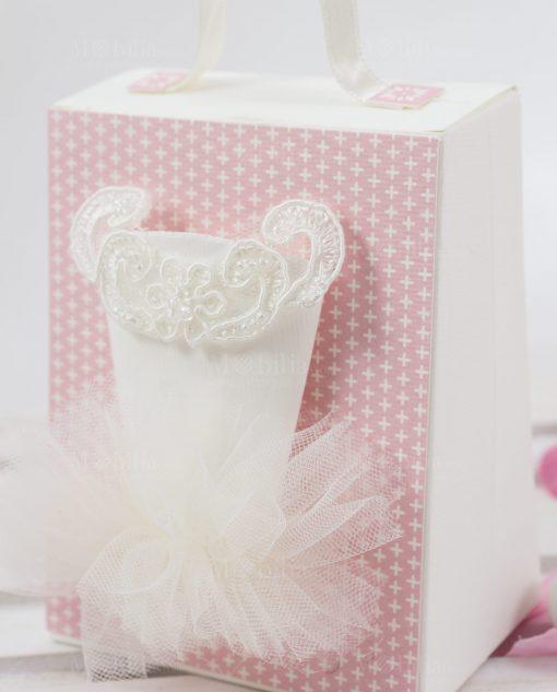 scatolina portaconfetti bianca e rosa con tutù bianco linea prima ballerina rdm design
