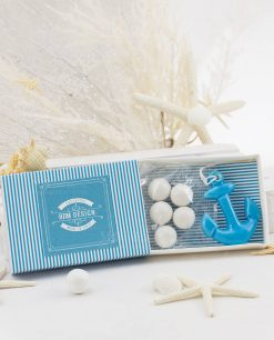 scatolina portaconfetti con ancora blu porcellana capodimonte linea oceania rdm design