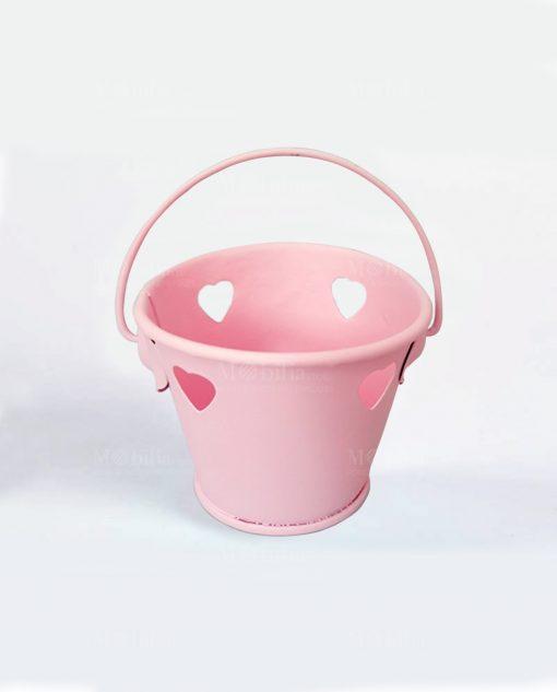 secchiello portaconfetti metallo rosa con cuore