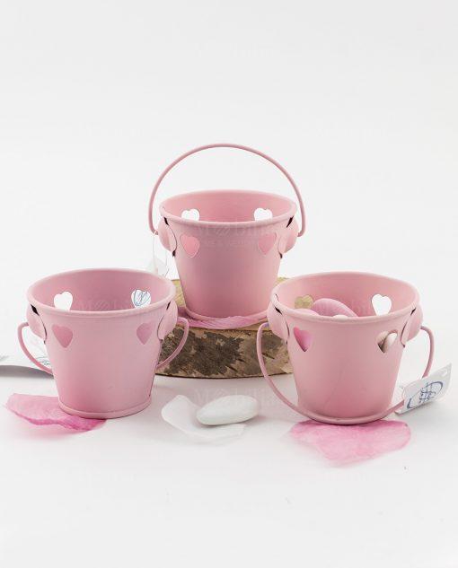 secchiello rosa portaconfetti con cuoricini