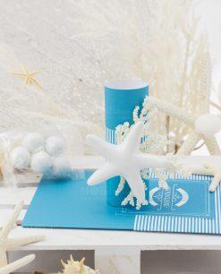 segnaposto con confetti con stella marina linea oceania rdm design