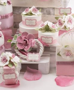 segnaposto scatoline con fiori rosa linea blush rdm design