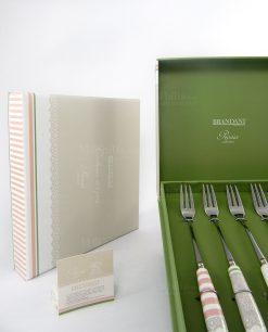 set forchettine linea peonia con scatola brandani