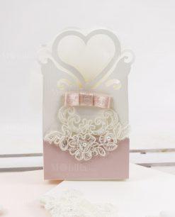 shopper cuore cartoncino bianco e rosa con pizzo rebrode rdm design linea forever