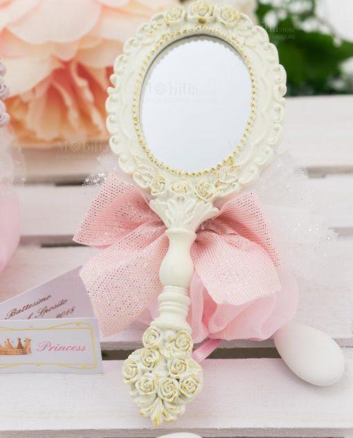 specchietto bianco con sacchetto linea princess ad emozioni