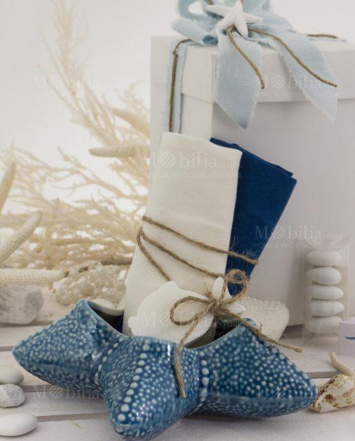 stella marina media con due salviette con saponetta pesciolino con scatola bianca linea oceano ad emozioni