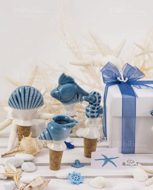 tappi ceramica confezione basic con nastro organza linea oceano ad emozioni