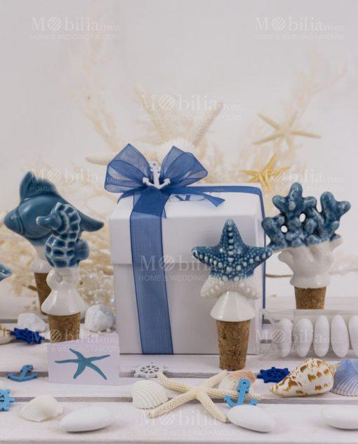 tappi ceramica confezione basic linea oceano ad emozioni con nastrino blu organza