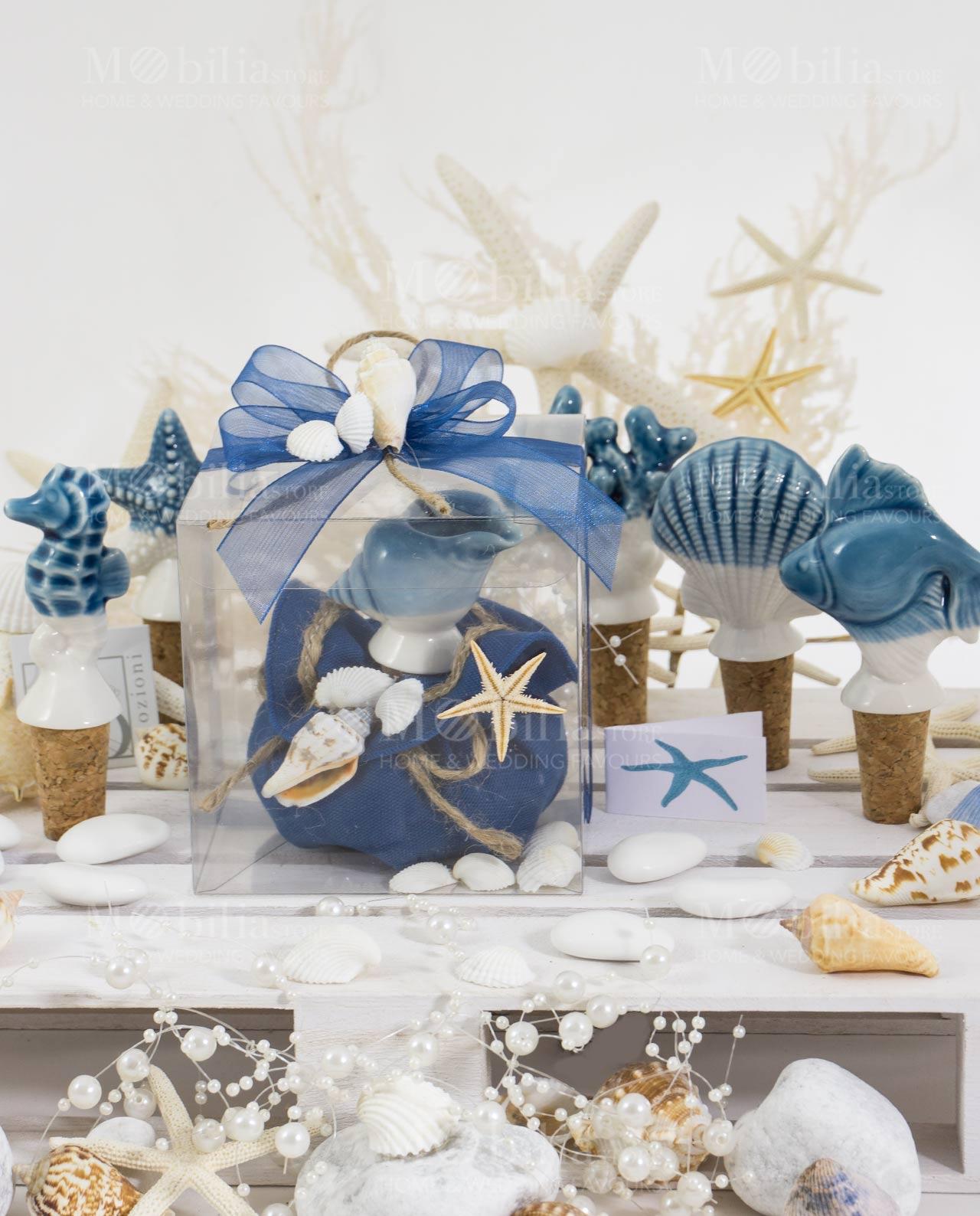 Matrimonio Tema Emozioni : Bomboniera tappo linea oceano con scatola ad emozioni collezione