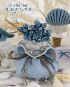 tappo corallo ceramica con sacchetto con spago linea oceano ad emozioni