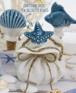 tappo stella porcellana con sacchetto bianco con spago linea oceano ad emozioni