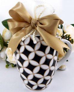 tazza mug collezione alhambra con sacchetto con fiocco tortora brandani