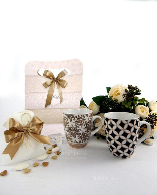 tazze mug con sacchetto con bag con fiocco collezione alhambra brandani