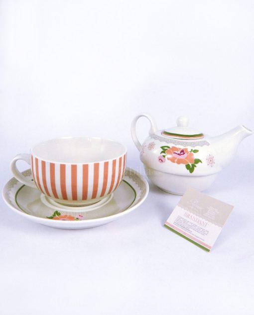 teiera con tazza e piattino collezione peonia brandani