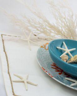 tovaglietta americana con bordino spago bianca ad emozioni piatti reef villa deste