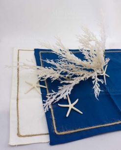 tovaglietta amoricana blu e bianca con bordino spago ad emozioni