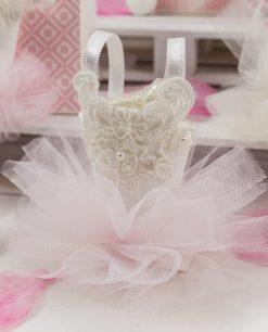tutù portaconfetti rosa con pizzo rebrodè linea prima principessa rdm design