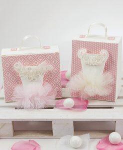 valigetta con tutu e picco rebrodè linea prima principessa rdm design con confetti
