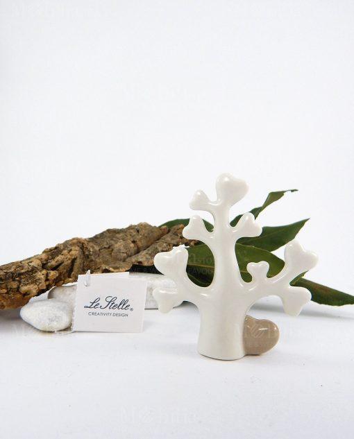albero della vita bianco porcellana con cuore tortora le stelle