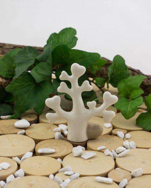 albero della vita bianco porcellana con cuore tortora piccolo le stelle