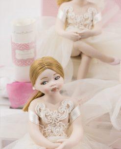 bambolina bionda occhi azzurri con tutù porcellana capodimonte linea prima ballerina rdm design