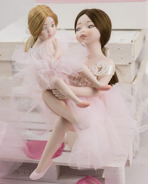 bambolina grande e piccola porcellana capodimonte linea prima ballerina rdm design