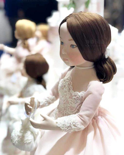 bambolina porcellana capodimonte con abito rosa con ricamo linea prima ballerina rdm design
