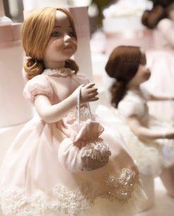 bambolina porcellana capodimonte con vestito rosa con ricamo linea prima ballerina rdm design