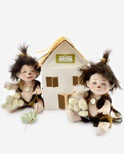 bamboline bambini con ovetti con casetta portaconfetti cartoncino linea gli antenati rdm design