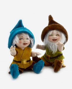 bamboline nani con cappello marrone e blu linea biancaneve e i sette nani rdm design