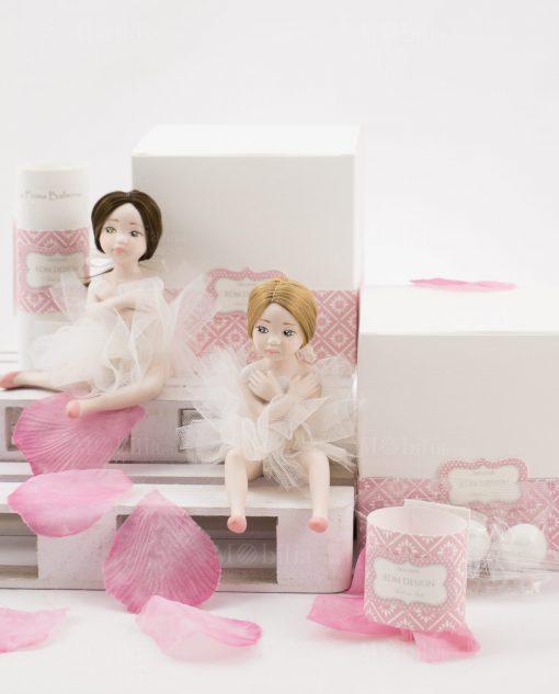 bamboline piccole mora occhi verdi e bionda occhi azzurri con scatolo linea prima ballerina rdm design